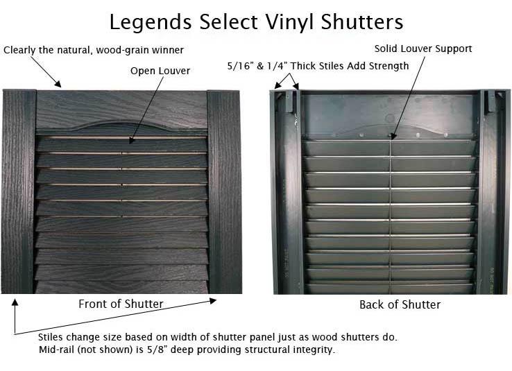 Legends vinyl exterior shutters for Vinyl vs wood exterior shutters