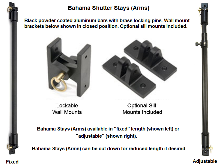 Bahama Shutter Stays Arms For Sale Decorative Shutters