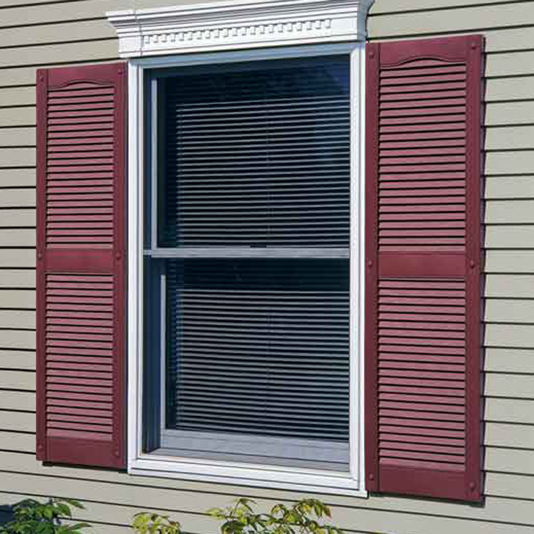 Vinyl exterior shutters gallery decorative shutters for Exterior louvered window shutters